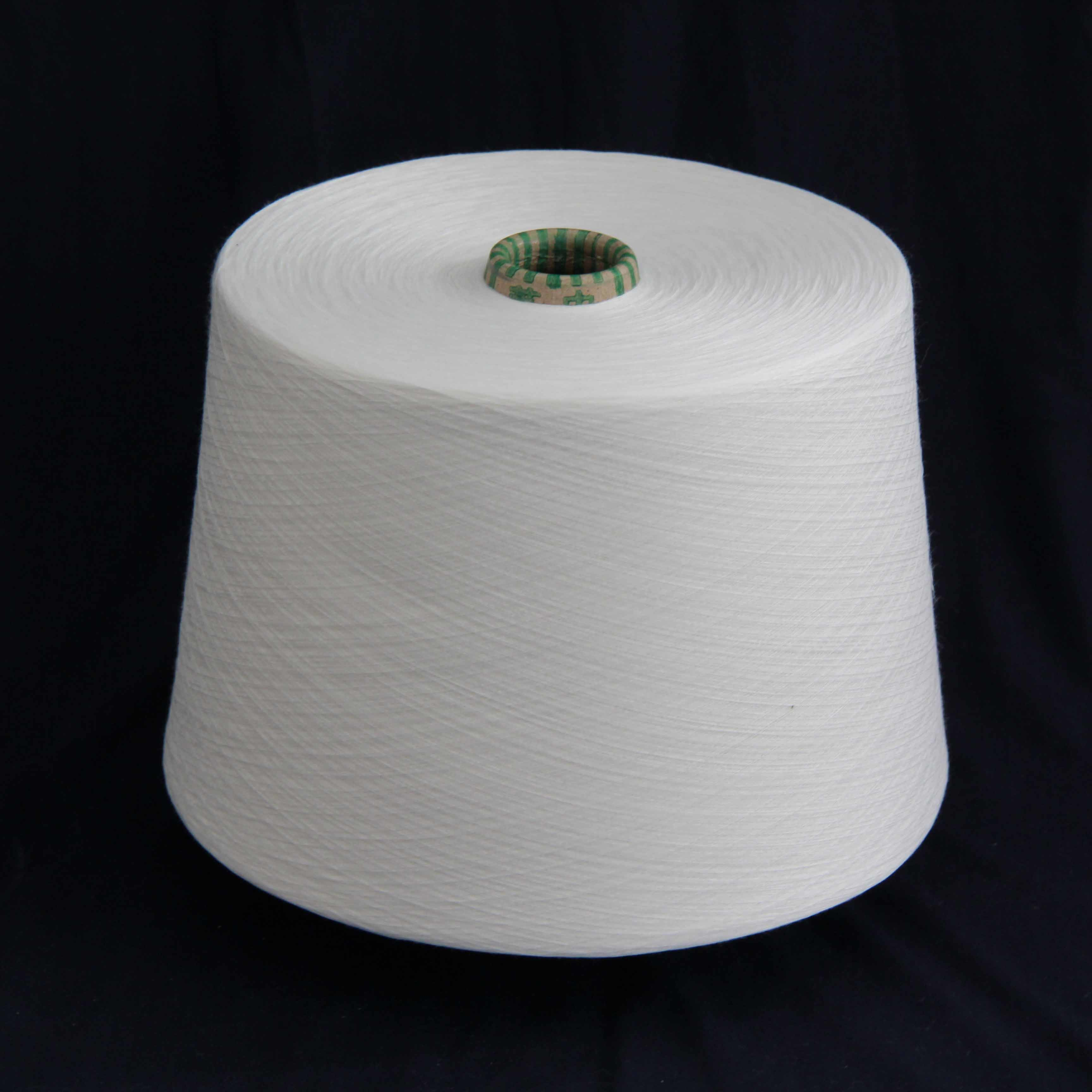 10s 100% Polyester Spun Yarns for Knitting in Raw White