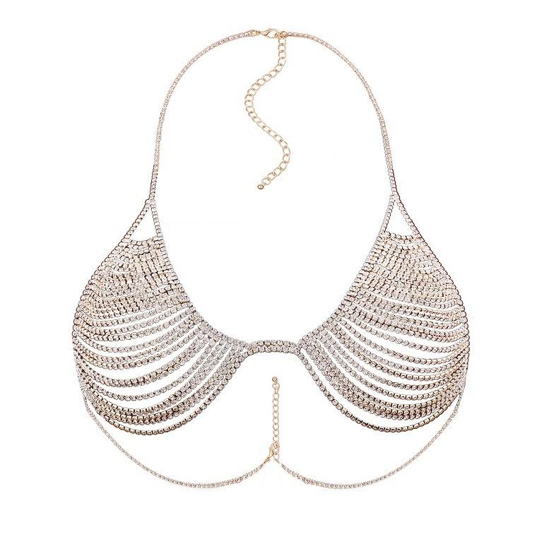 Fashion Full Rhinestone Crystal Metal Chain Bra Body Jewelry
