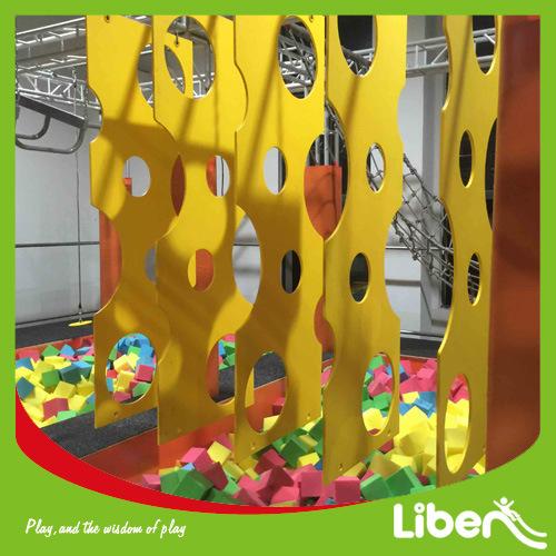 Indoor Park Free Jumping Trampoline with Hanging Bars&Ninja Warrors