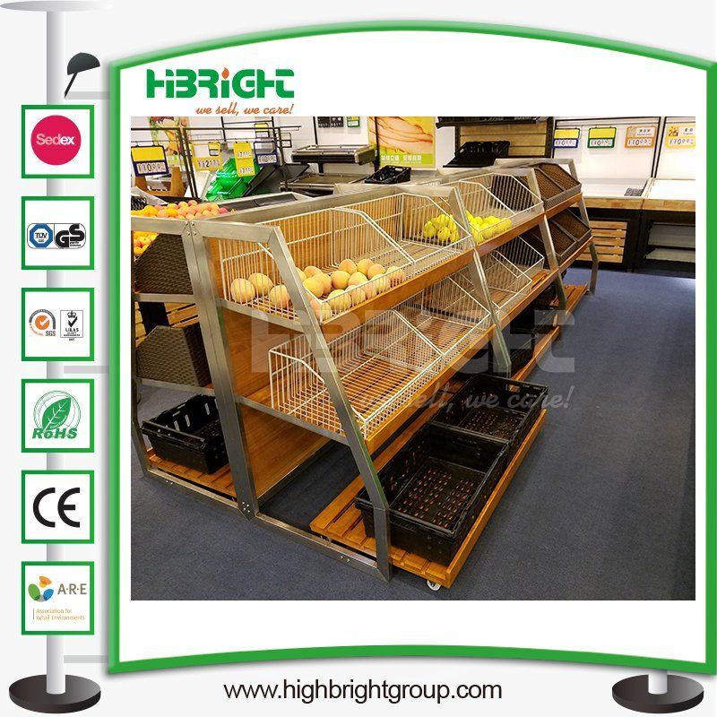 Wooden Supermarket Fruits Vegetables Display Racks