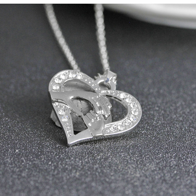 Costume Jewelry Mother′s Day Gift Gold Crystal Heart Pendant Necklace Love Gift for Her Mum Daughter