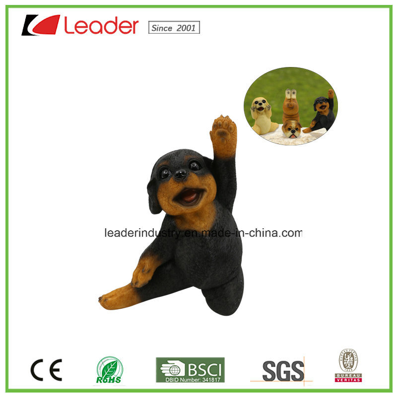 New Yoga Dog Figurine Novelty Statue, Balck Brown Color for Home and Garden Decoration