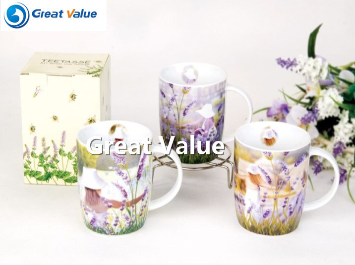 Unique Lavender Decal Porcelain Tea to Go Cup