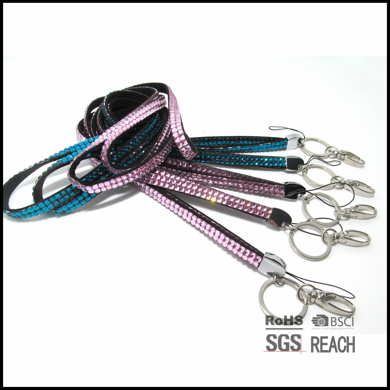 Acrylic Rhinestone Neck Lanyard Strap for Business ID Badge /Card