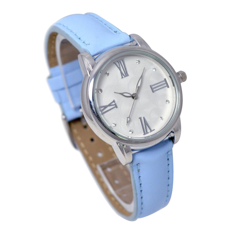 Japan Biquartz Movement Blue Leather Wristband Alloy Case Watch