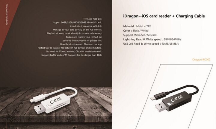 USB Cable for iPhone Charging with Card Reader 2 in 1 USB Cable Card Reader (OM-RC002)
