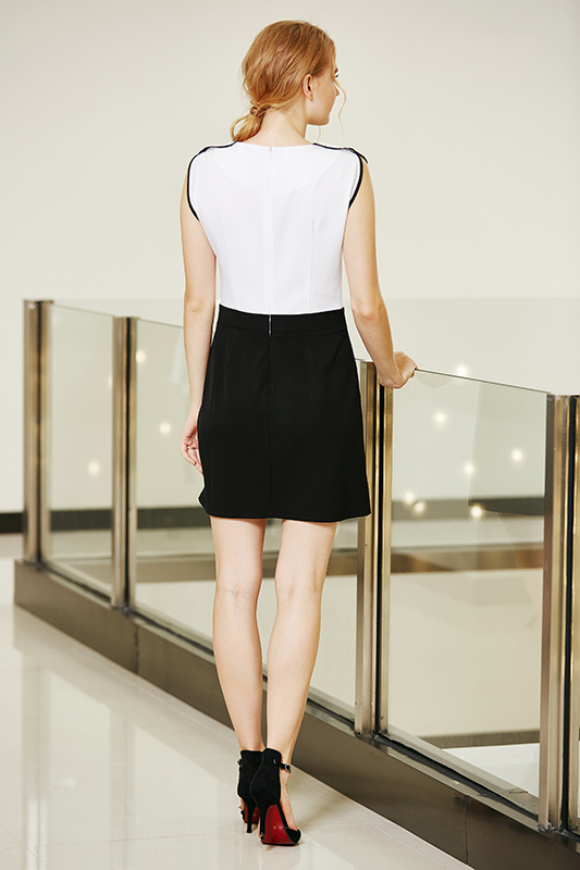 Elegant Black and White MID Waist Fitted Dress with Pleated Top Waist and Belt Loop Front