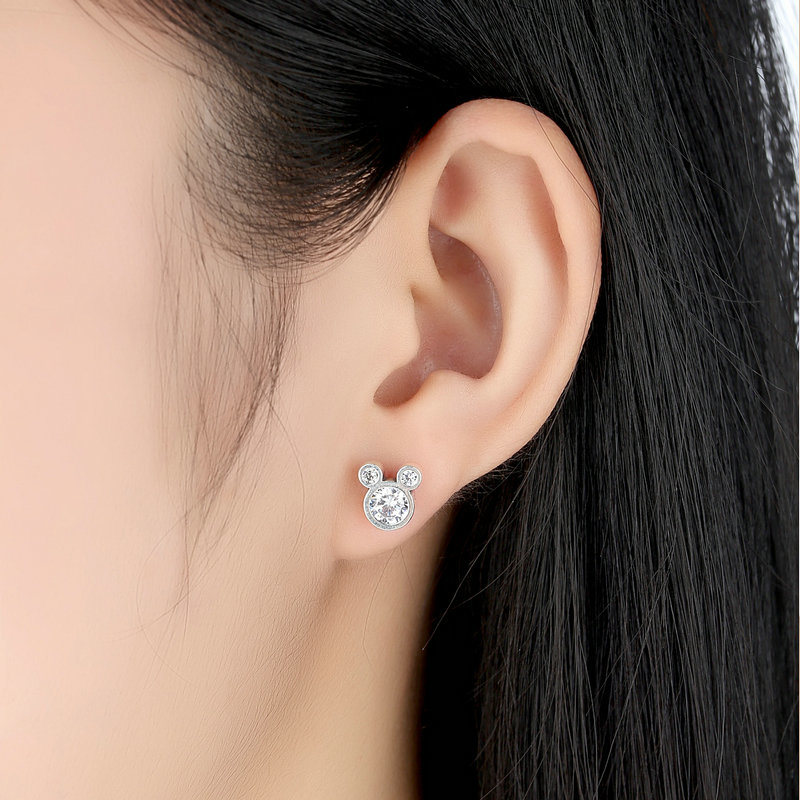 Fashion Jewelry Design 925 Sterling Silver Mickey Stud Earrings