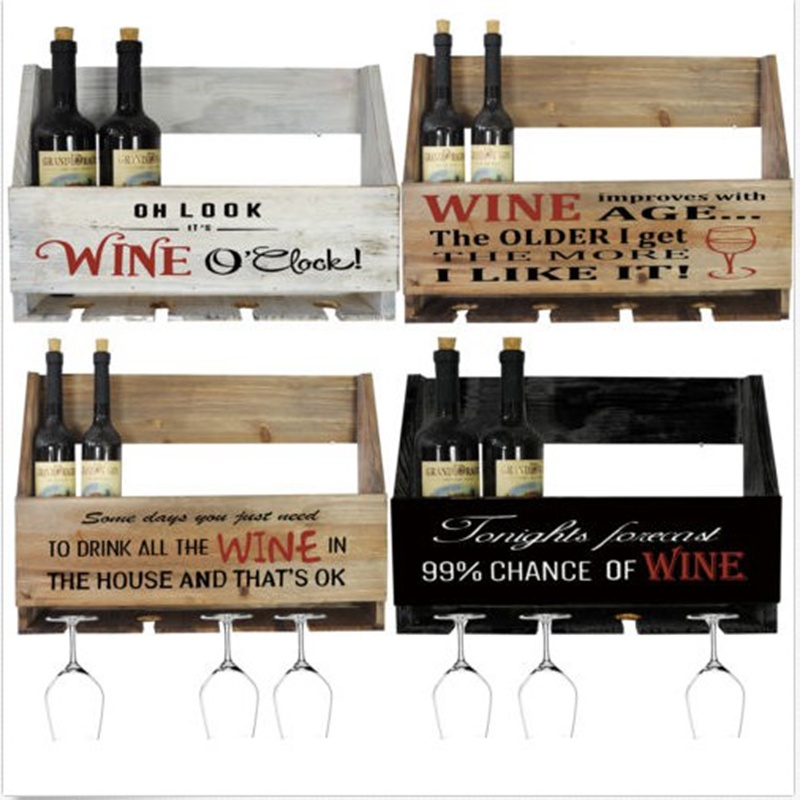 Wooden Wall Mounted Wine Bottle & Glasses Storage Holder Vintage Home Bar Rack