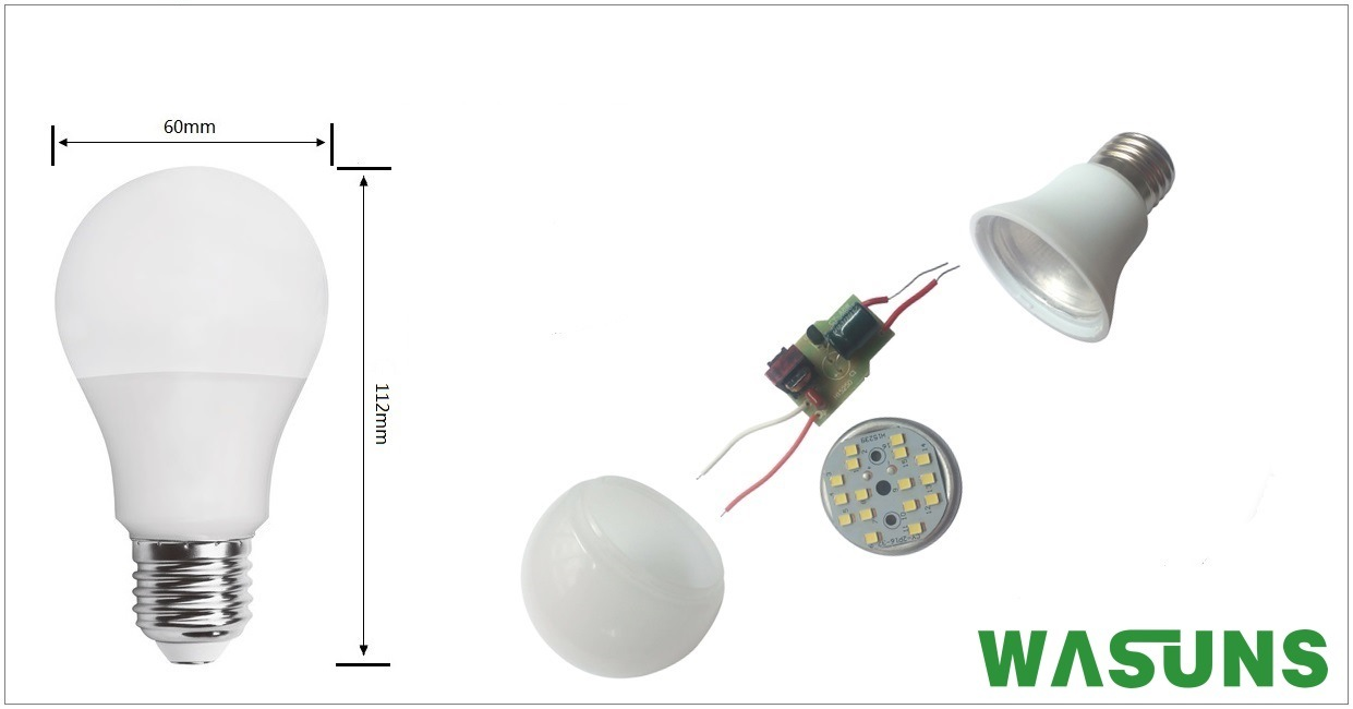 9W Aluminium Plus PBT Plastic E27 B22 LED Light Bulb