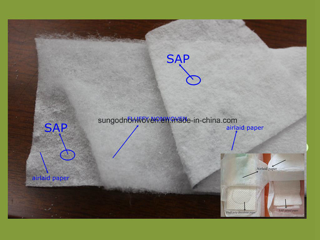 Absorbent Core of Airlaid Paper with Sap