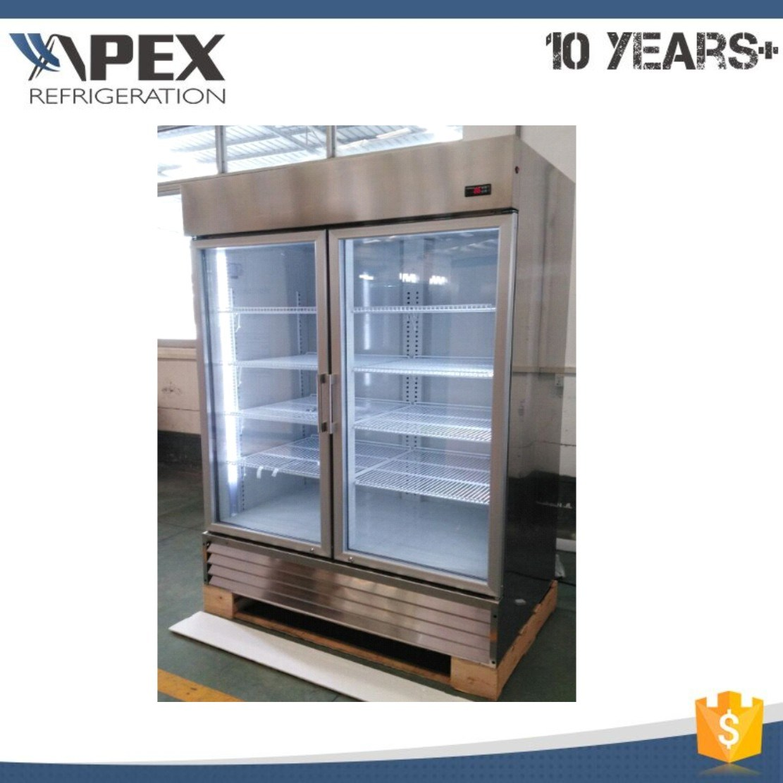 Upright Glass Doors Stainless Steel Cooler Kitchen Showcase Display