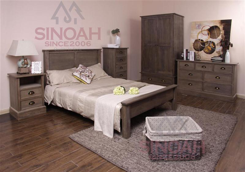 nuez del color del dormitorio del roble rústico oscuro de los muebles