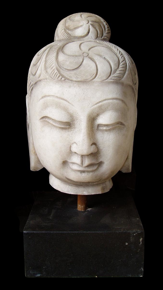 Graceful stone carved buddha head china carving sculpture