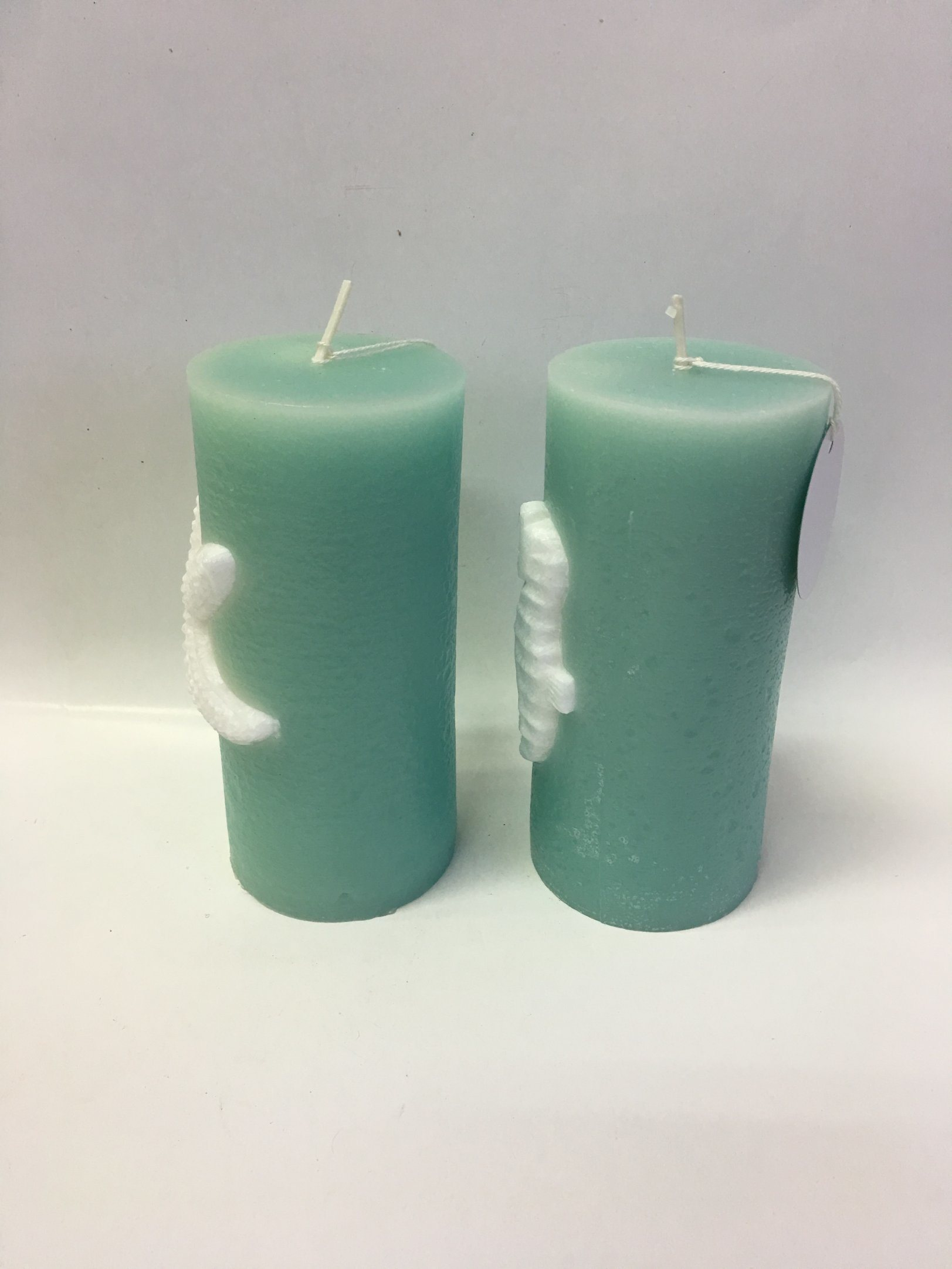 Light Green Smart Design Ocean Animal Embossed Pillar Candle