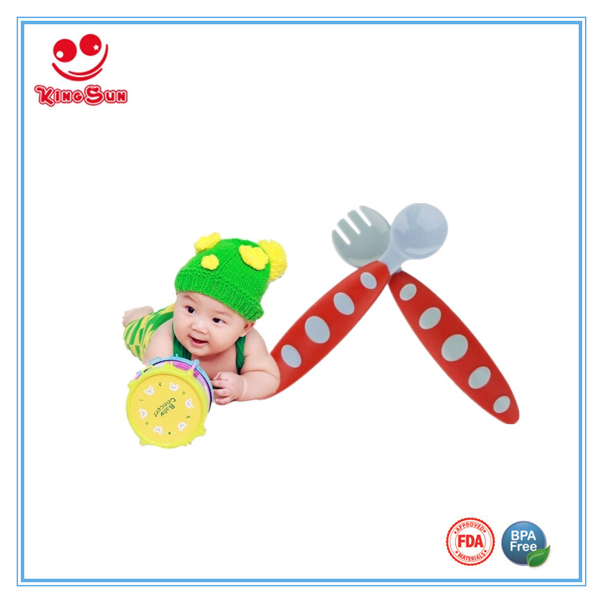 Colorful Plastic Baby Spoon and Fork