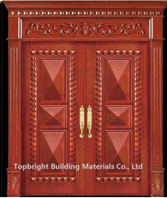 China villa exterior main door double door design solid for Double door designs for main door