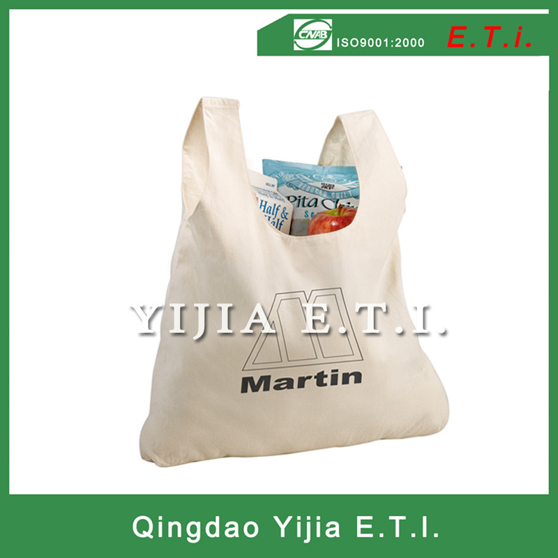Foldable Cotton Shopping Bag with a Snap Strap