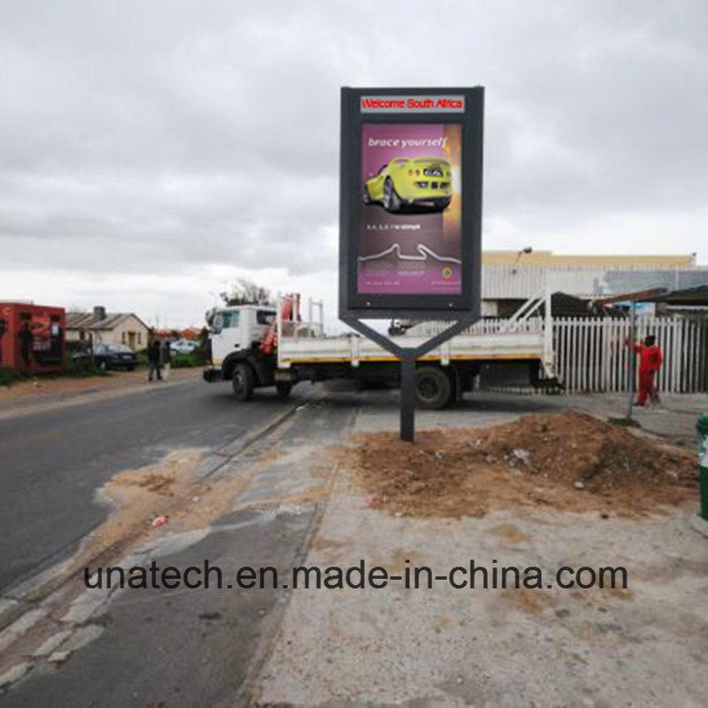 Outdoor Square Post Pedestal Aluminium Rolling LED Light Box Ad Billboard