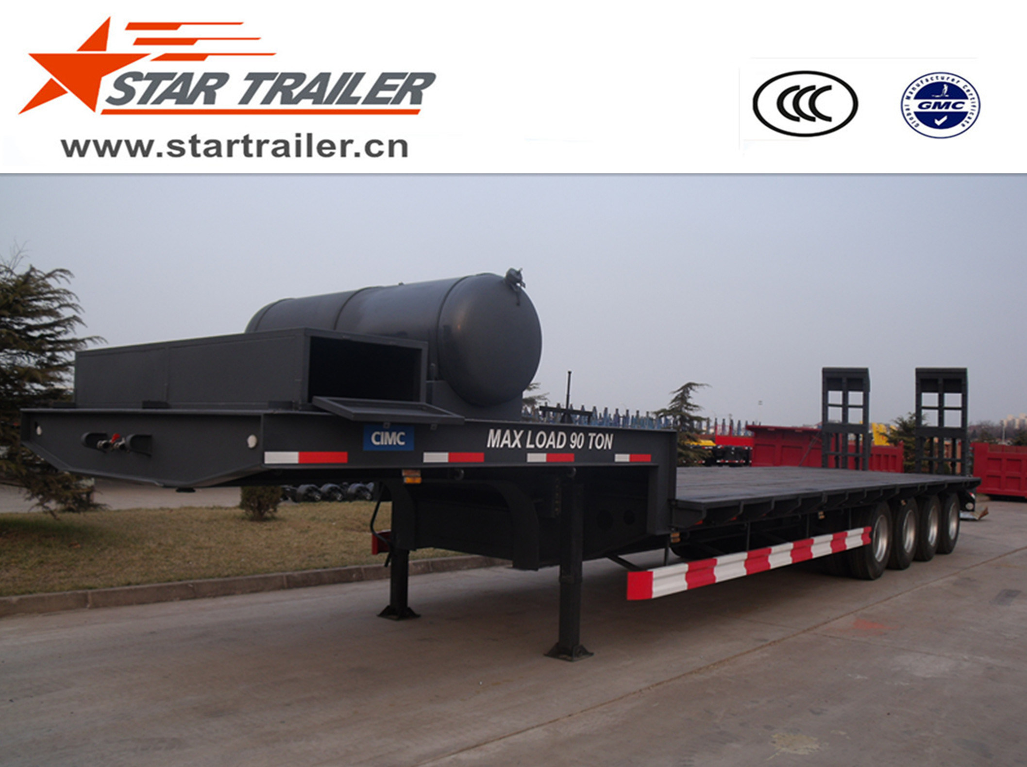 4 Axles Heavy Equipment Transport Low Bed Trailer