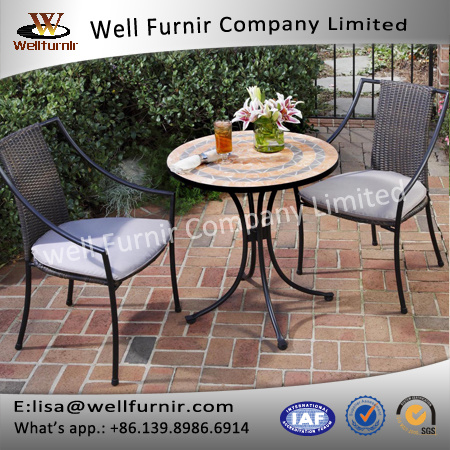 Well Furnir T-023 Outdoor&Indoor Home Styles Terra Cotta Mosaic 3 Piece Bistro Set Furniture