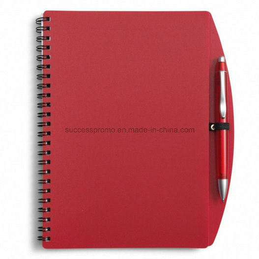 Custom PP Plastic Cover Spiral Agenda Notebook with Pen