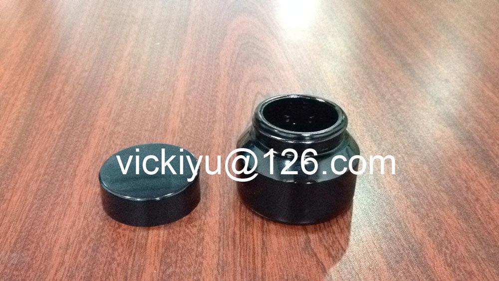 50g Black Cosmetics Glass Jars, Black Cream Jar, Violet Black Glass Jars
