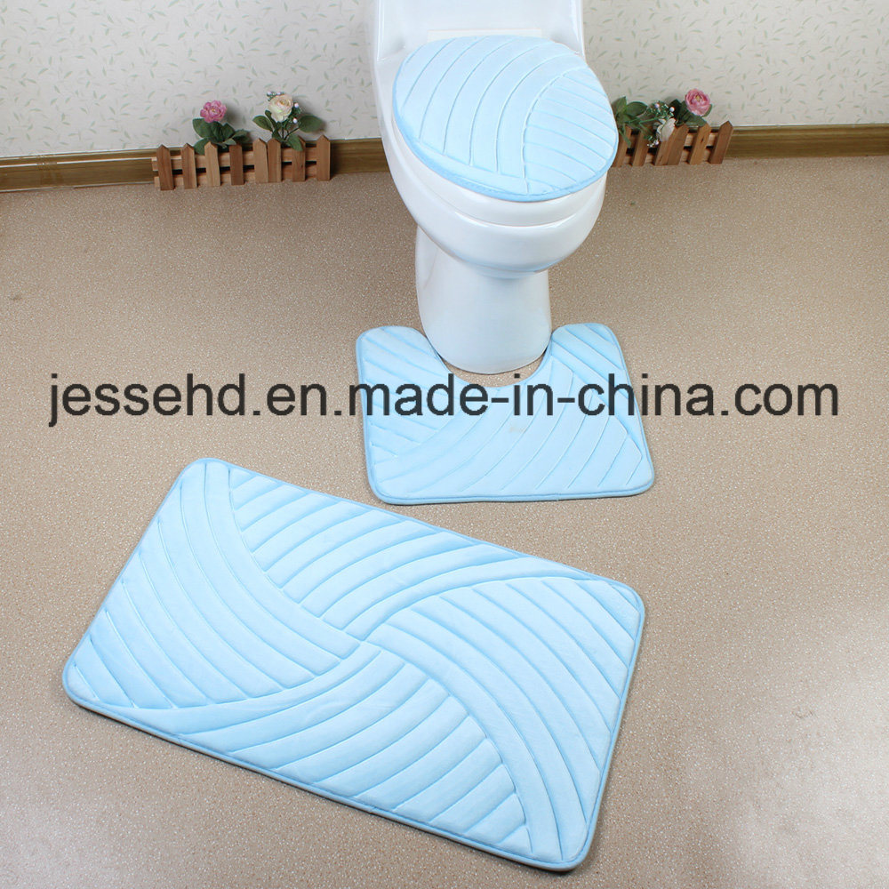 2017 Hot Selling Flannel Embossed Foam Sponge 3PCS Bathroom Mats Set