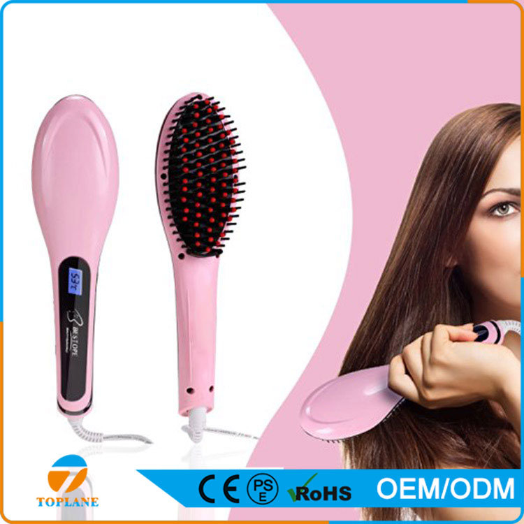 Ce Certificated Hair Straightener with LCD Ceramic Brush for Straightening Hair