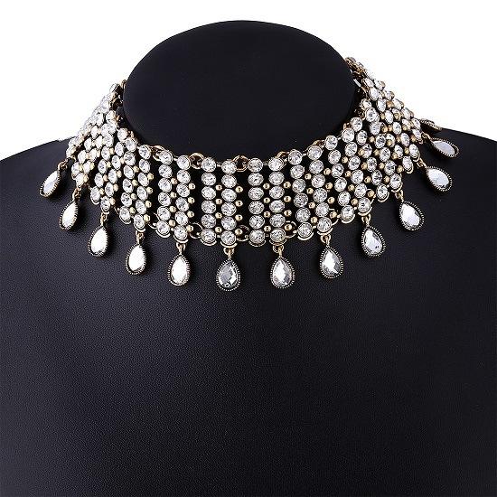 Luxury Glittering Full Rhinestone Pendants Collar Fashion Woman Diamond Choker Necklace Jewelry