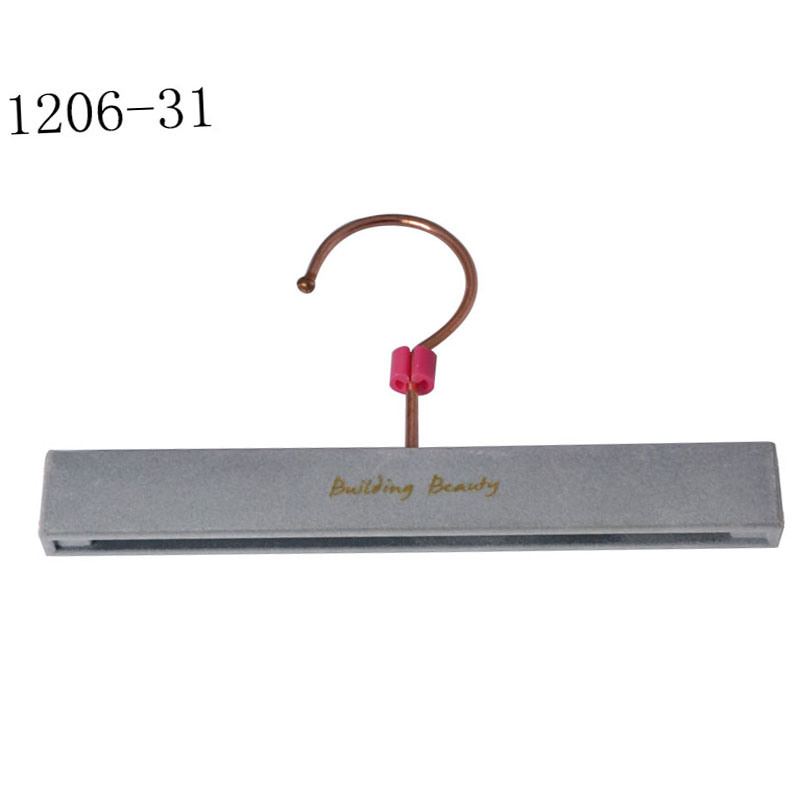Luxury Brand Clothes Shop Display Grey Velvet Hangers with Logo