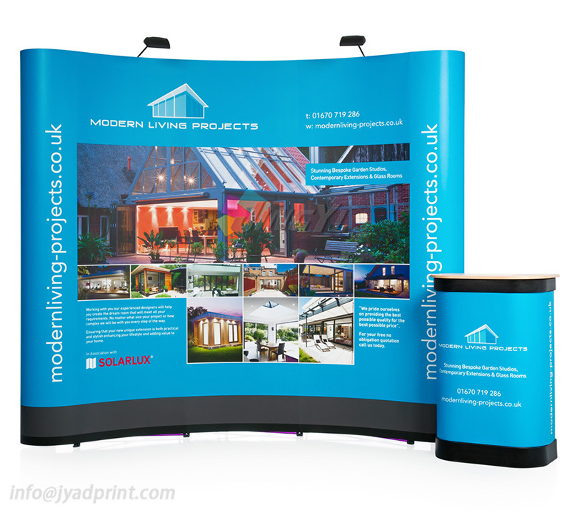 Custom Printed Pop Up Backdrop& 2 Lights+Podium Display For Exibition Tradeshow