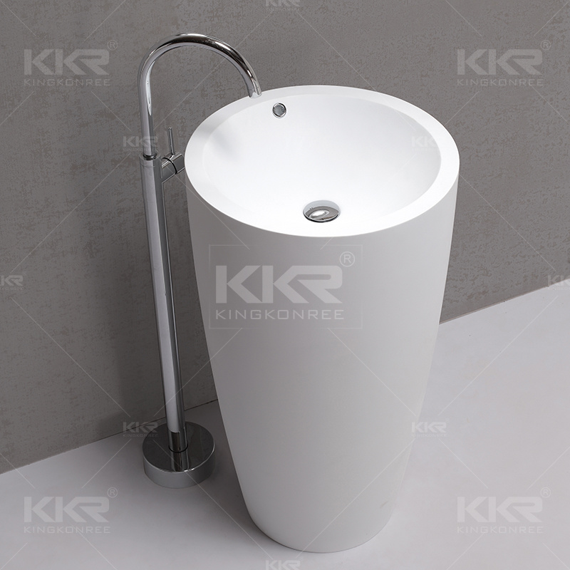 Sanitary Ware Italian Style Solid Surface Floor Standing Bathroom Sinks (170915)