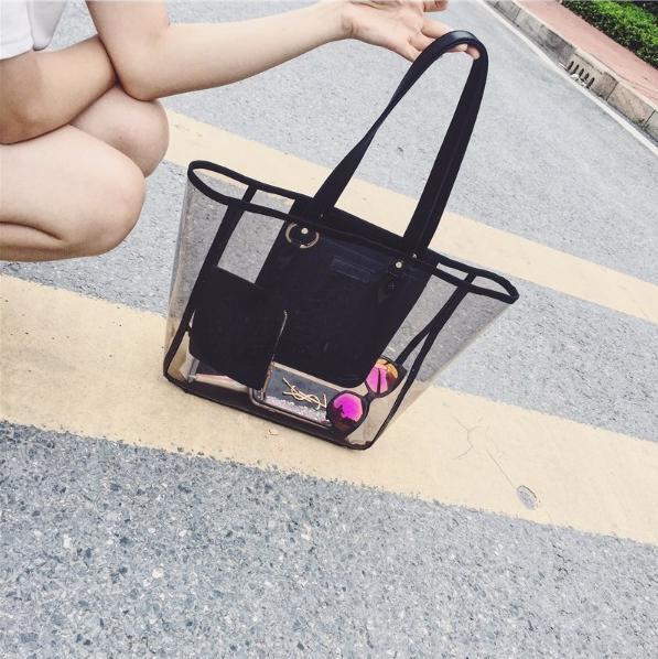 2017 New Arrival Transparent Tote Hand Bag Shopping Beach Fashion Bag Hcy-5074