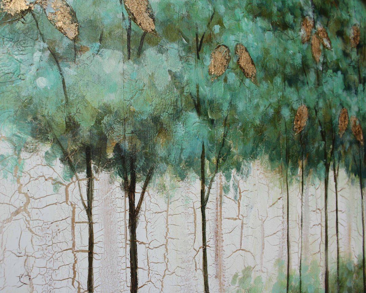 Gold Leaf Foil Home Decorative Trees Oil Painting on Wood (811703138)