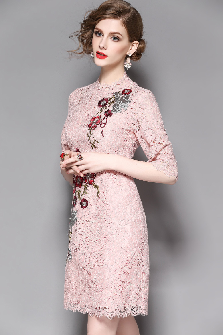 Women Crew Neck Sheath Lace Embroidery Cocktail Prom Party Lined MIDI Dress