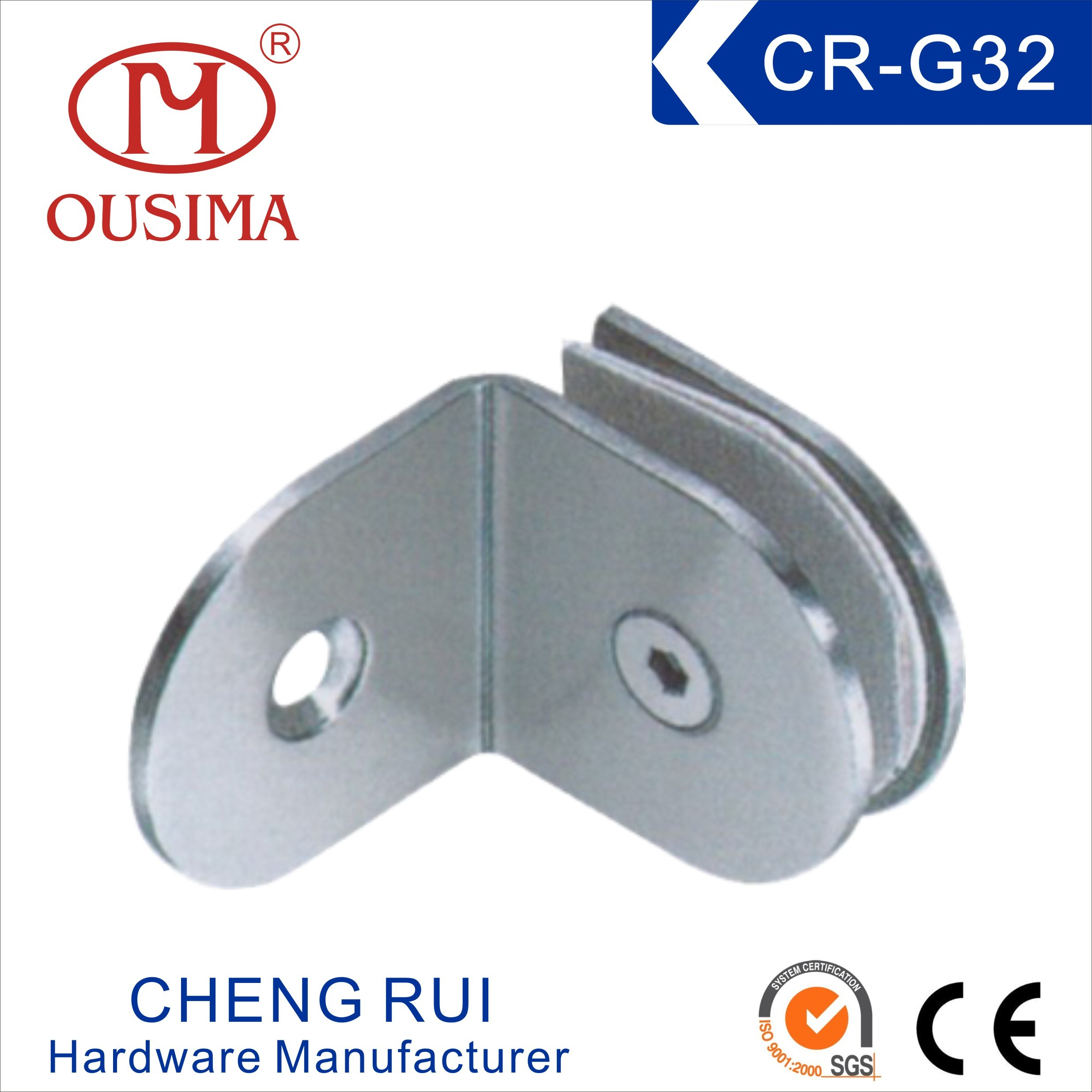 China 90 Degree Bathroom Partition Glass Fixing Hardware CR G30