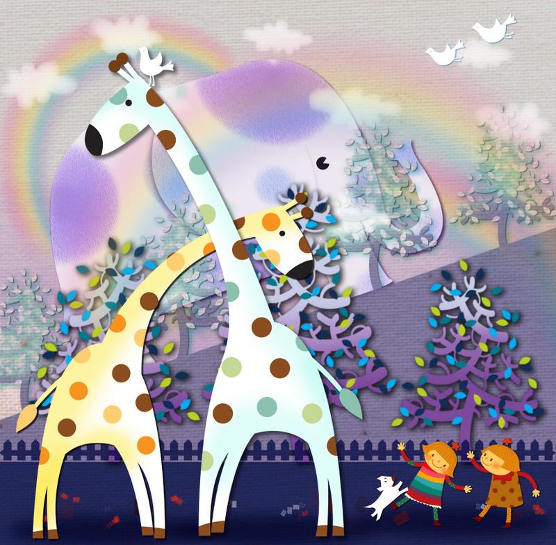 Cartoon Giraffe Picture Livingroom Kids Room Oil Painting