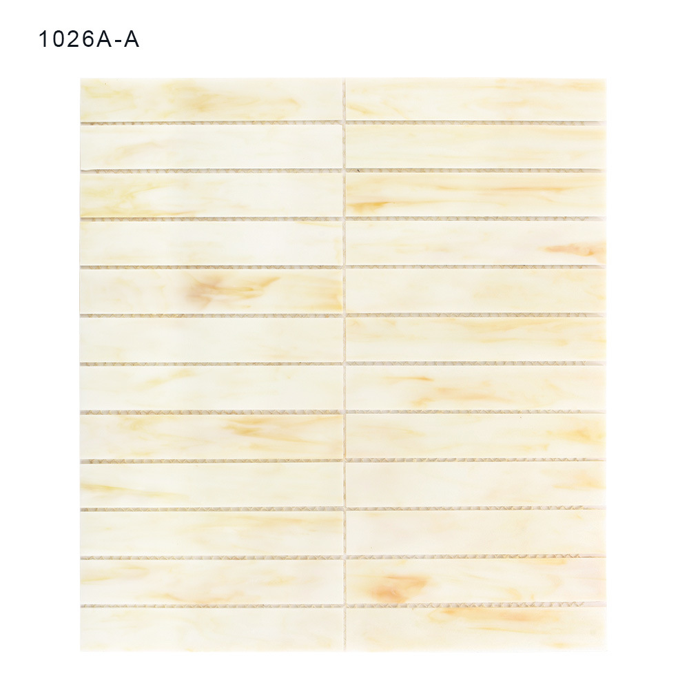 Hand Cut Building Material Beige Glass Tile Sheets Stained Mosaic