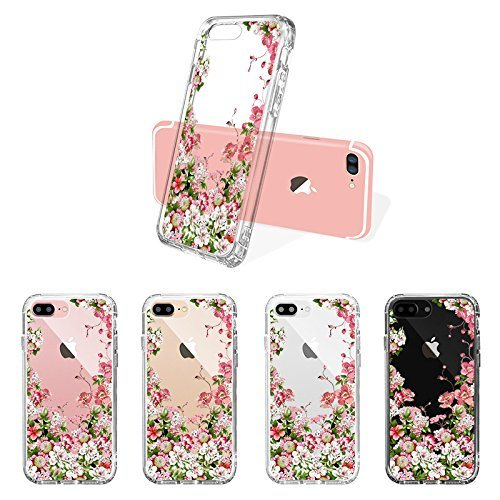 Flower Slim Scratch-Resistant TPU Bumper Cover PC Hard Case for iPhone 7