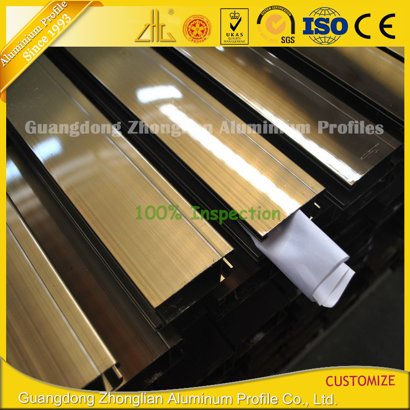 Custom Electrophoresis Anodized Champagne Aluminium Extrusion for Furnitures