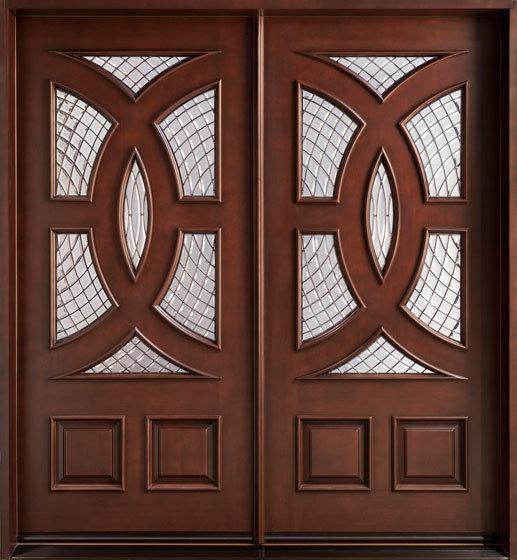 Solid Timber Door/Villa Door/Double Sashed Wooden Door with Glass Solid Wood Door