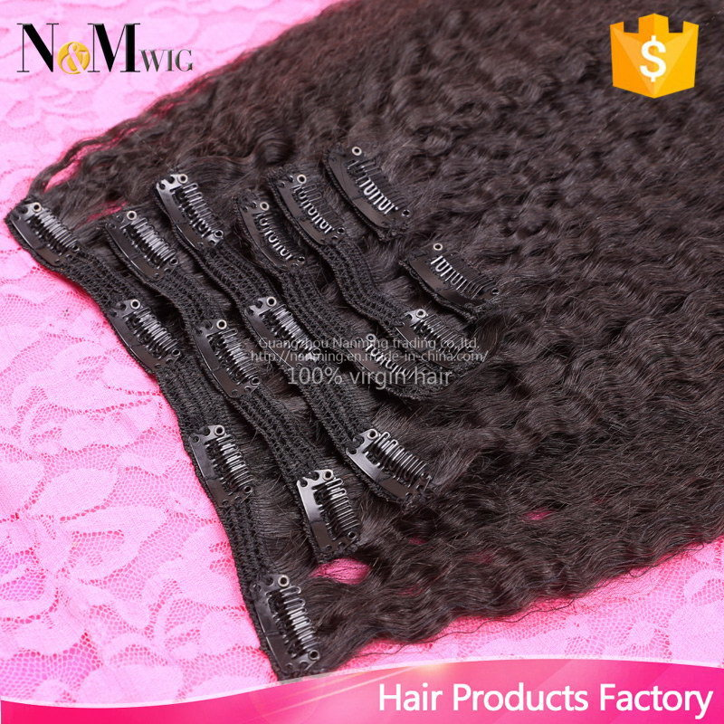 Brazilian Virgin Kinky Straight Clip in Hair Extensions, 100% Human Hair Kinky Straight Clip in Extensions, 7PCS/Set
