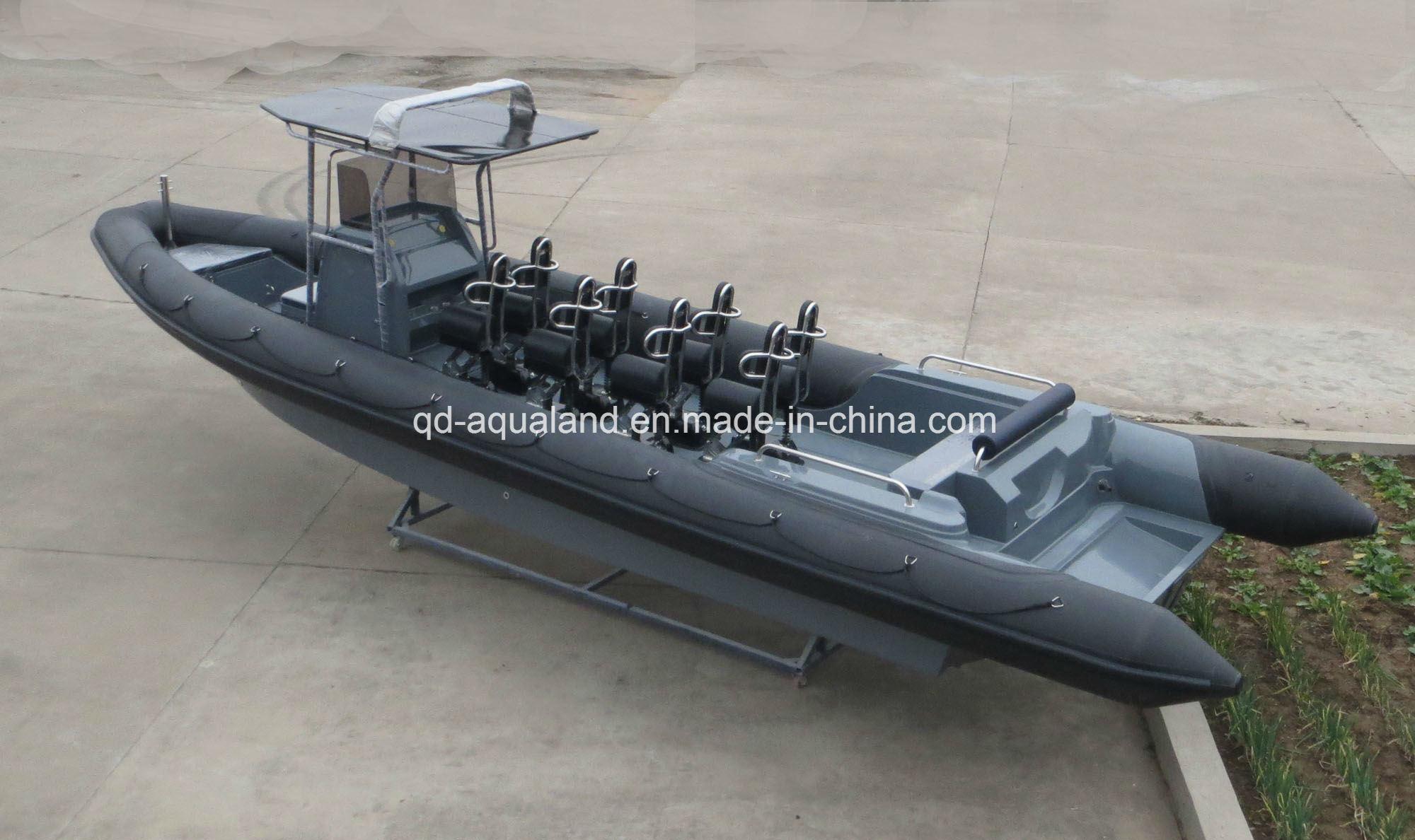 China Aqualand 36feet 11m Fiberglass Rigid Inflatable Motor Boat/Rib Military Patrol Boat/Rescue Diving Boat (RIB1050)