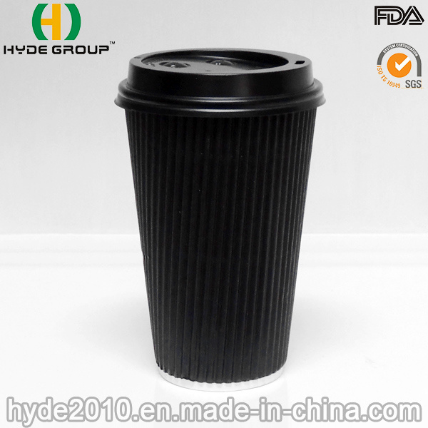 Disposable 16oz Ripple Wall Paper Cup with Lid