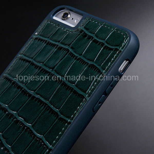 Whole Protection Crocodile Pattern Genuine Leather Case for iPhone 6 Plus