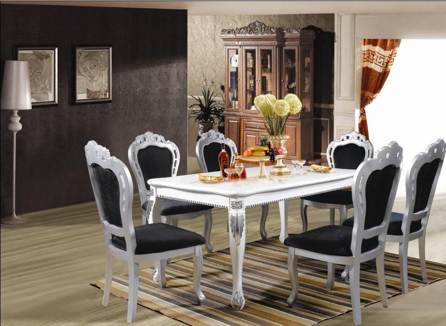 Elegant Hotel Furniture/Canteen Furniture/Restaurant Furniture/Luxury Dining Sets/European  Style Restaurant Furniture/Hotel Silver Foil Dining Sets (CHN 018)