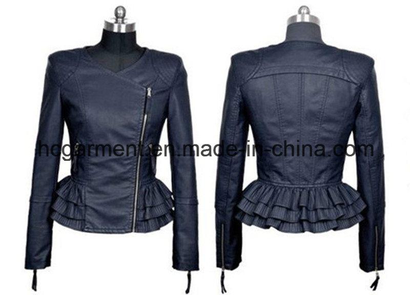 Fashion Punk PU Belt Jacket for Lady/Women, Leather Garment
