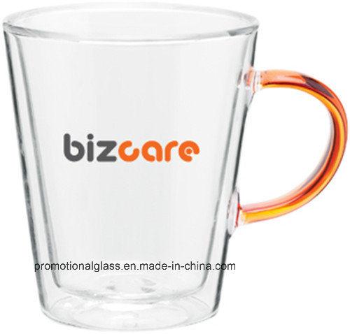11oz Double Wall Borosilicate Glass Mug with Colored Handle