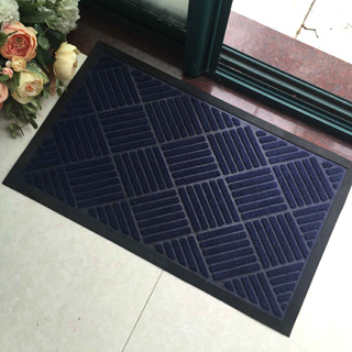 Rubber Backed Moulded Embossed Engraved Patterned Needle Punch Polyester Solid Color Waterhog Welcome Entrance Door Mats